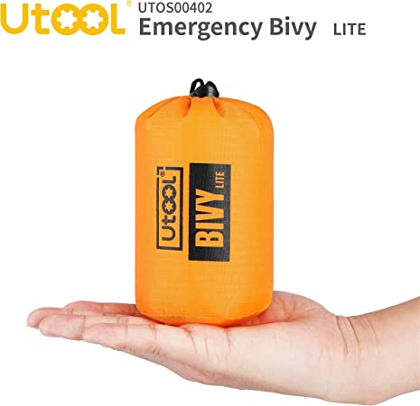 Hiking and Emergency Shelter etc UTOOL Ultralight Emergency Sleeping Bag Waterproof Bivy Sack Bivvy Cover with Heat Retention for Camping