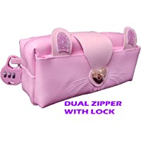 SHREE TECHNESH® New Arrival Pencil Pouch with Lock for Girls |Angel Stationery Pouch for Girls|Pouch with Lock for Girls|Pencil Box with Lock|Pencil Pouch for Girls Stylish|Zipper Pouch (Pink) 9911