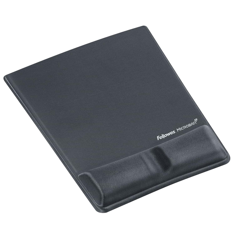 Fellowes - Alfombrilla con reposamuñecas de espuma para ratón (con canal ergonómico), color grafito 9184001 FEL9184001