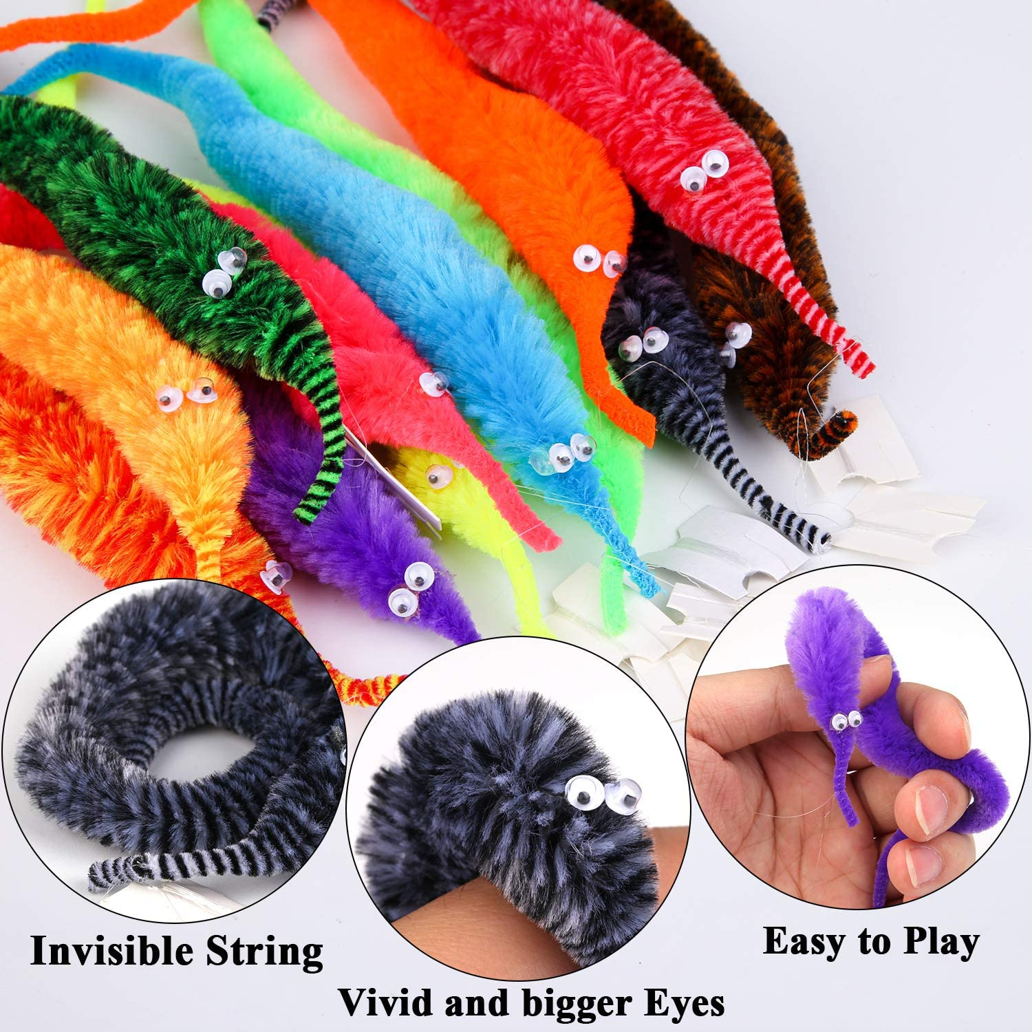 12 Colors Elcoho 60 Pieces Magic Worm Toys Magic Wiggly Twisty Fuzzy Worm for Carnival Party Supplies with an Organza Bag