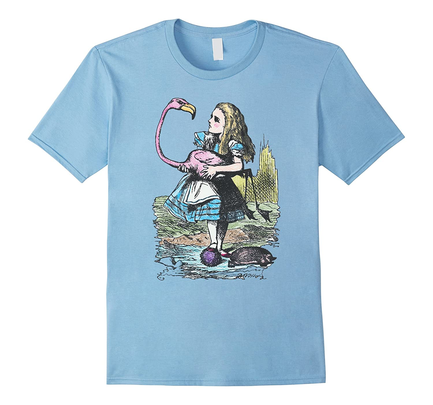Alice in Wonderland with Flamingo and Hedgehog Shirt A27-CL