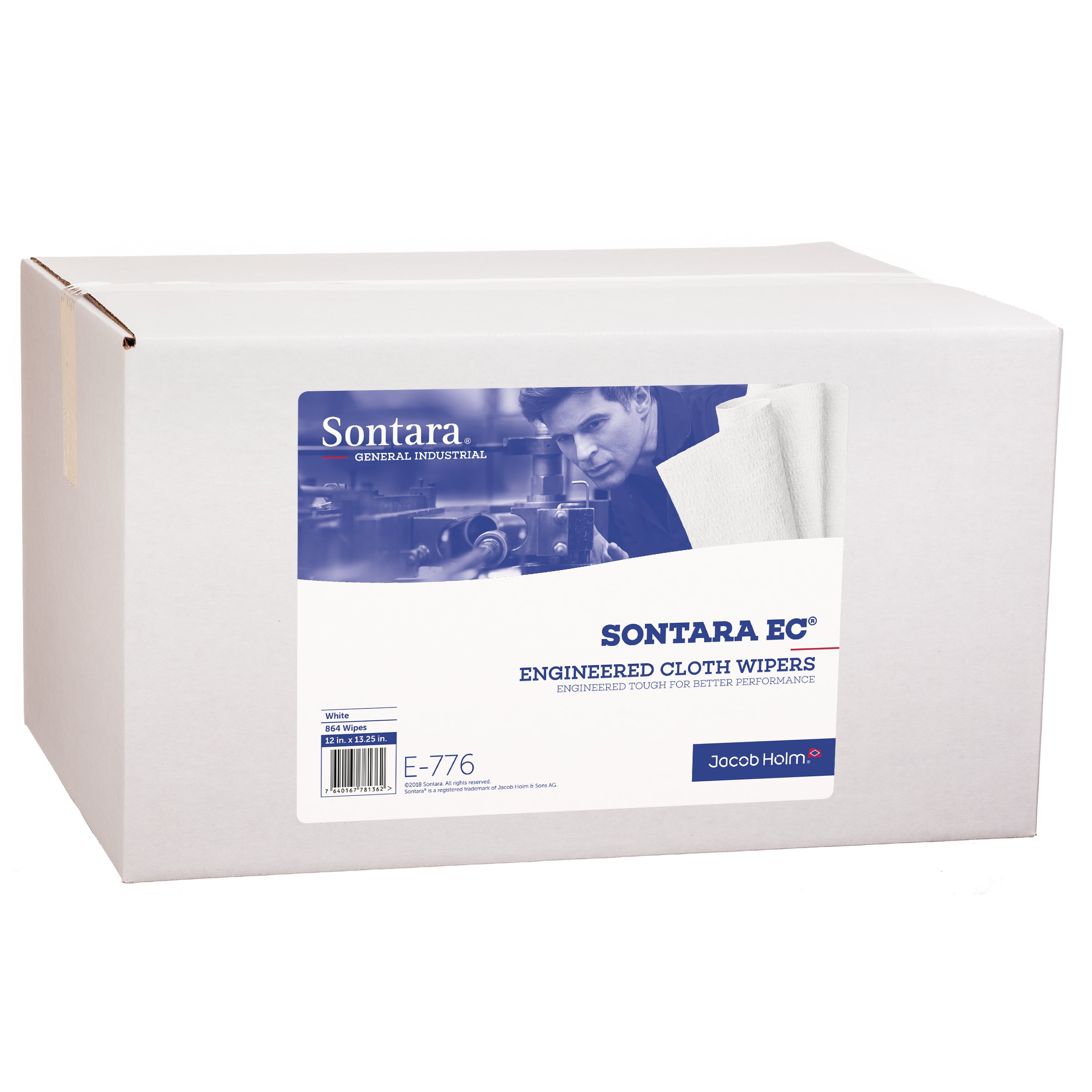 Sontara Engineered Cloth Wipers, E776, White, 12'' x 13.25'', (Total of 864 Wipes), (Case of 18 Packs, 48 Wipes Per Pack)