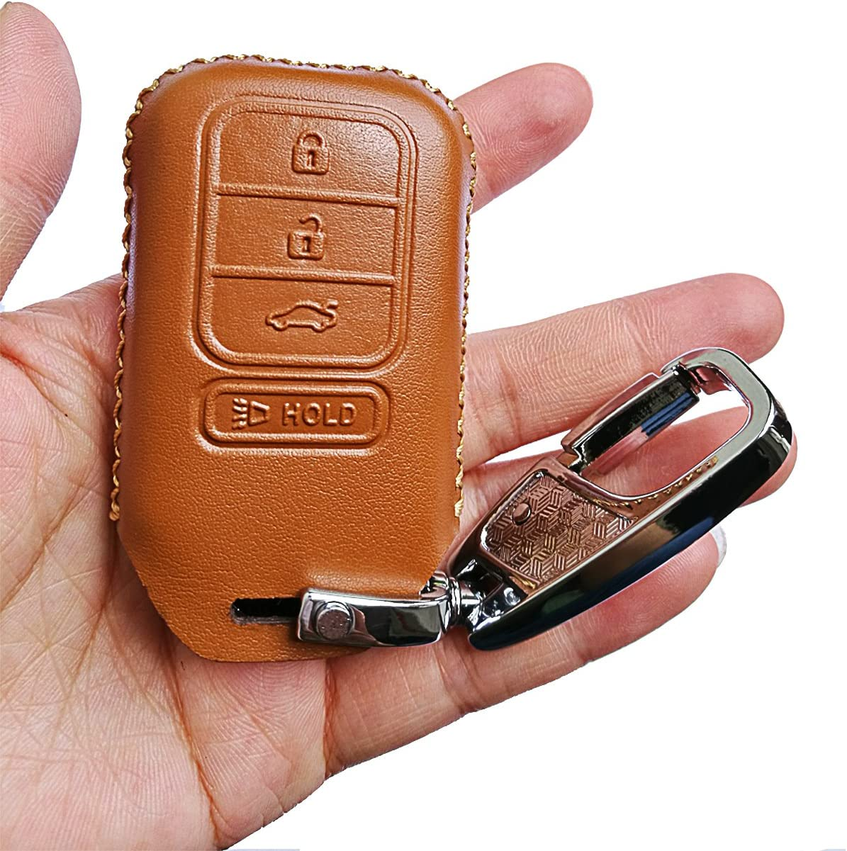 Alegender Genuine Leather Smart Key Remote Fob Case Cover Protector for 2013 2014 2015 2018 Honda Accord EX EX-L Touring Civic 4 Buttons