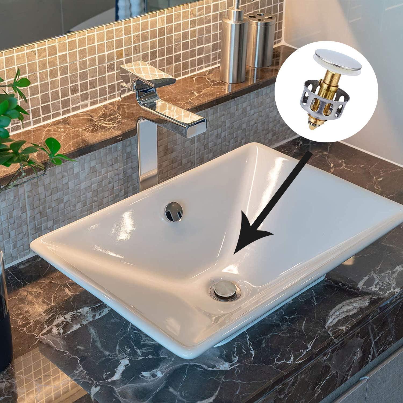 Universal Wash Basin Bounce Drain Filter 2 Pcs Universal Kitchen Bathroom Strainer Sink Drain Stopper Diameter No Overflow Pop Up Bathroom Sink Drain Plug With Basket Kitchen Bath Fixtures Tools