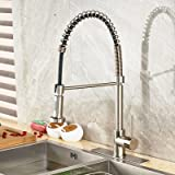 Votamuta Best Modern Brushed Nickel High Arch Pull Down Pre Rinse Pull Out Sprayer Single Handle Kitchen Sink Faucet with Deck Plate