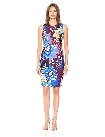 0af40e15 Calvin Klein Women's Scuba Crepe Sleeveless Princess Seam Sheath Dress,  Aubergine Multi, ...