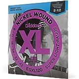 D'Addario ESXL120 Nickel Wound Electric Guitar Strings, Super Light, Double Ball End, 9-42