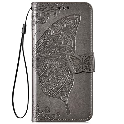 IKASEFU Compatible with iPhone 11 Case Emboss butterfly Floral Pu Leather Wallet Strap Card Slots Shockproof Magnetic Stand Feature Folio Flip Book Cover Protective Case-Gray: Musical Instruments