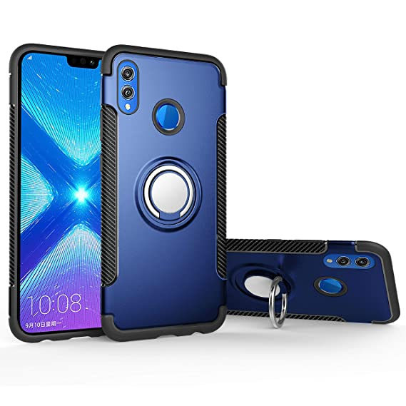 Orzero TPU + PC Hybrid Dual Layer Case for Huawei Honor 8X Full Body Heavy  Duty Protection 360 Rotating Metal Ring [Adsorbed Iron Plate]-Blue