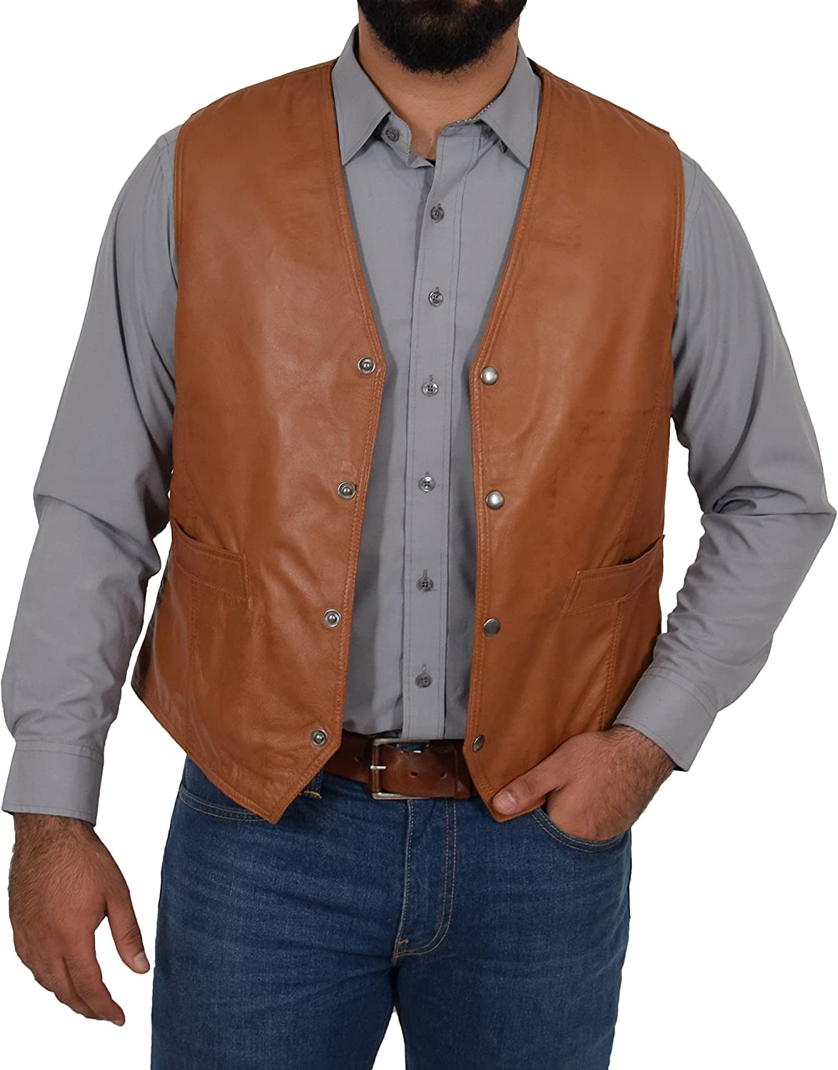 Bruno Mens Soft Tan Leather Waistcoat Classic Traditional Style Gilet Casual Vest