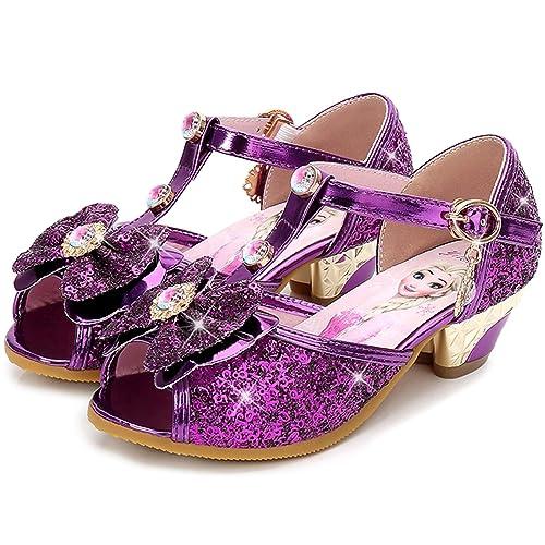 32d6a73b4566 Eleasica Fille Confortable Chaussures de Princesse avec Talon Elsa Haute  Qualité Paillettes Sandales Argenté Bleu Violet