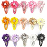 15-20 PCS Baby Girl Chiffon Flowers Lined Hair Bows Clips for Teens Girls Babies Toddlers