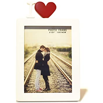 Amazoncom 5x7 Wooden Photo Frame In White With I Heart In Red I