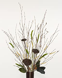 green floral crafts natural birch branches green yarrow u0026 lotus pods combo pack