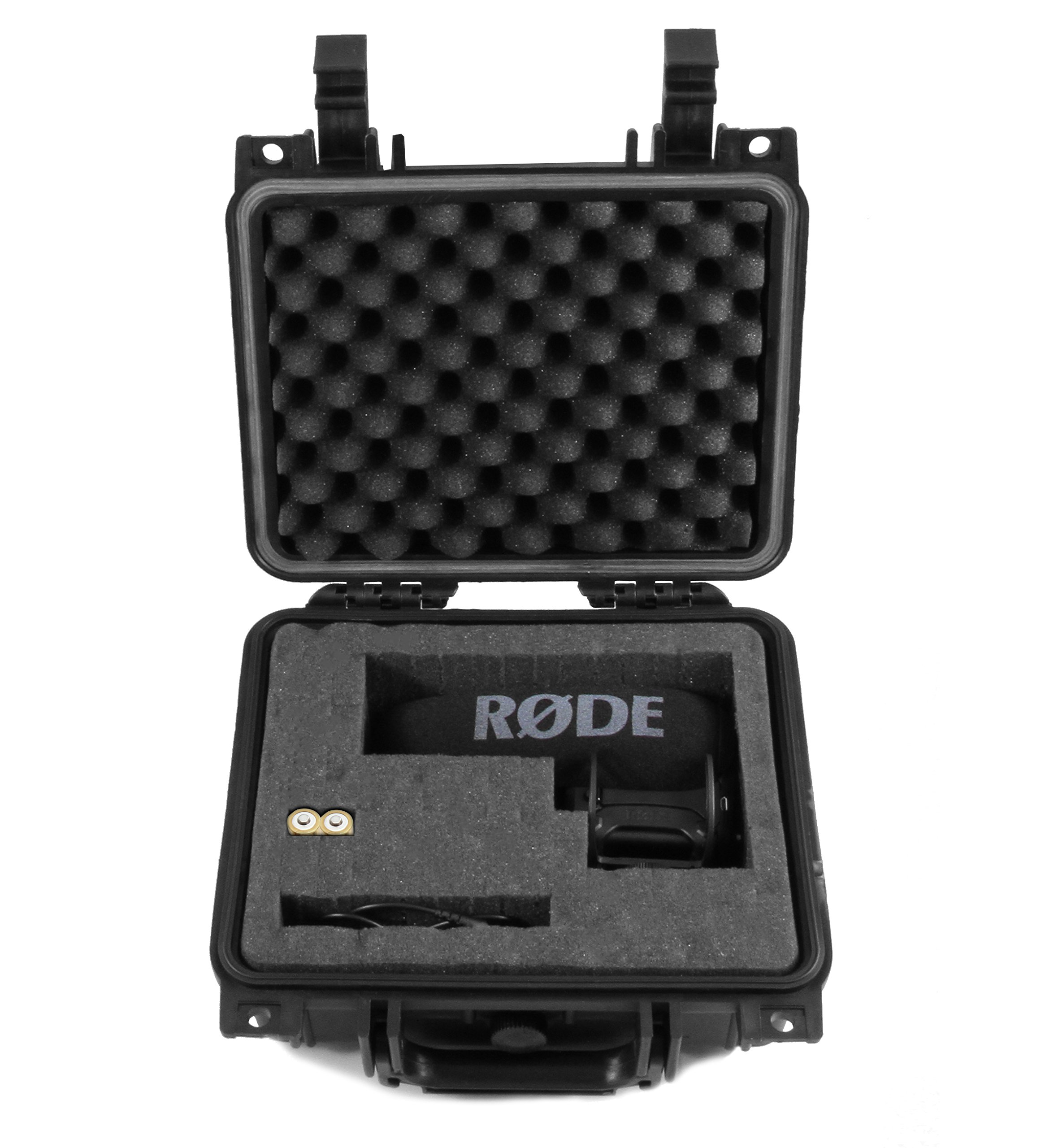 "CASEMATIX 11"" Airtight Camera Microphone Case For Rode VideoMic Pro+ On Camera Shotgun Condenser Microphone w/Rycote Lyre, VMPR VideoMic Pro R, 3.5mm TRS Cable, Charge Cable, Batteries and More"