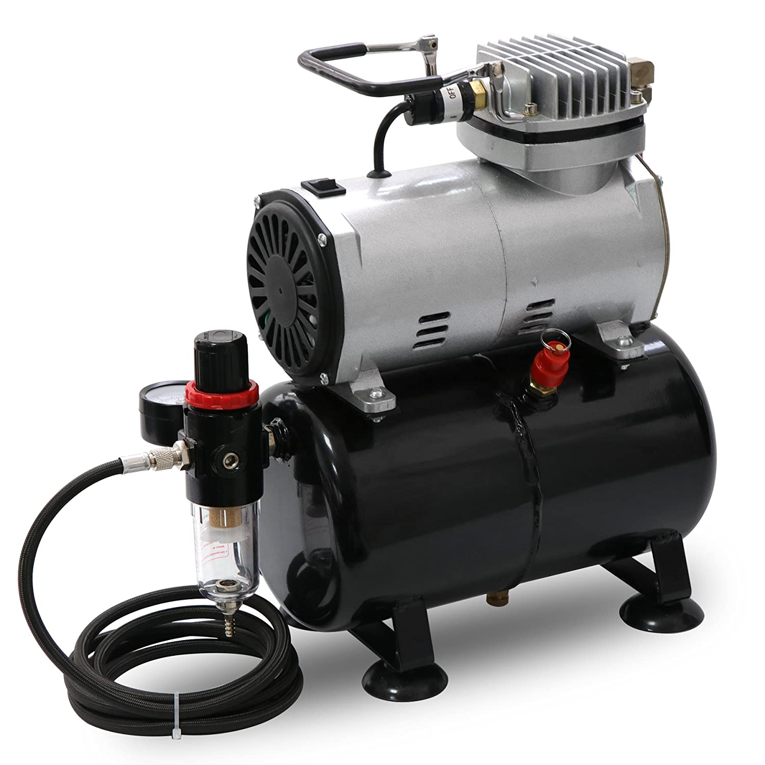 Portable Quiet Airbrush Air Compressor 1/5 HP with Tank, 6 Foot Air Hose, Water Trap and Regulator Best Sunshine