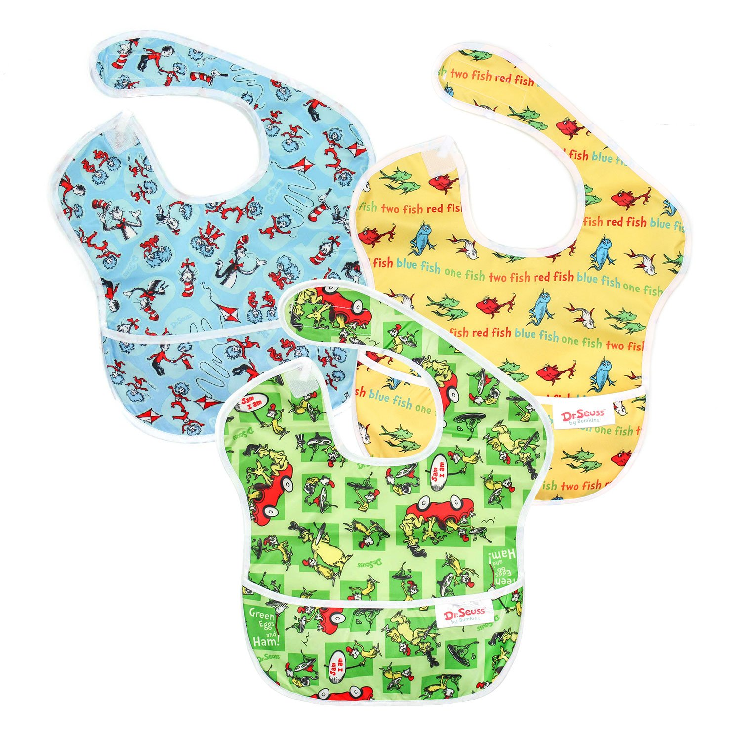 6-24 Months Waterproof Green Eggs Baby Bib Bumkins Dr Seuss SuperBib Stain and Odor Resistant Cat In The Hat Washable Yellow Fish 3-Pack