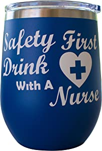 Funny Nurse Gifts For Women Novelty Stainless Steel Wine Tumbler 12 oz, Double Walled Vacuum Insulated Tumbler with Splash Proof Lid Gift For Men & Women