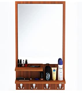Superb Bluewud Rico Dressing Table With Shelves, Mirror And Hanging Hooks (Walnut)
