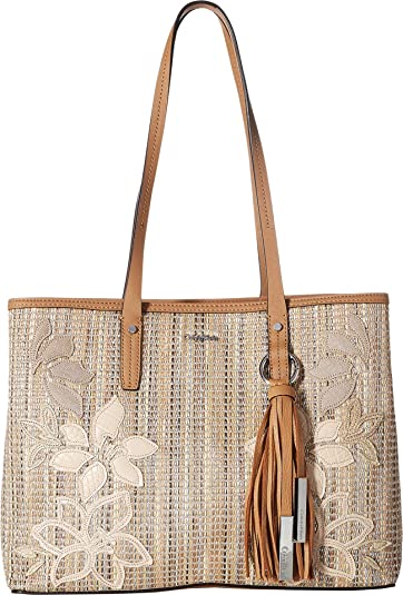 d5ff56bf15 Amazon.com: Calvin Klein Women's Maggie Raffia Novelty East/West Tote  Natural One Size: Shoes