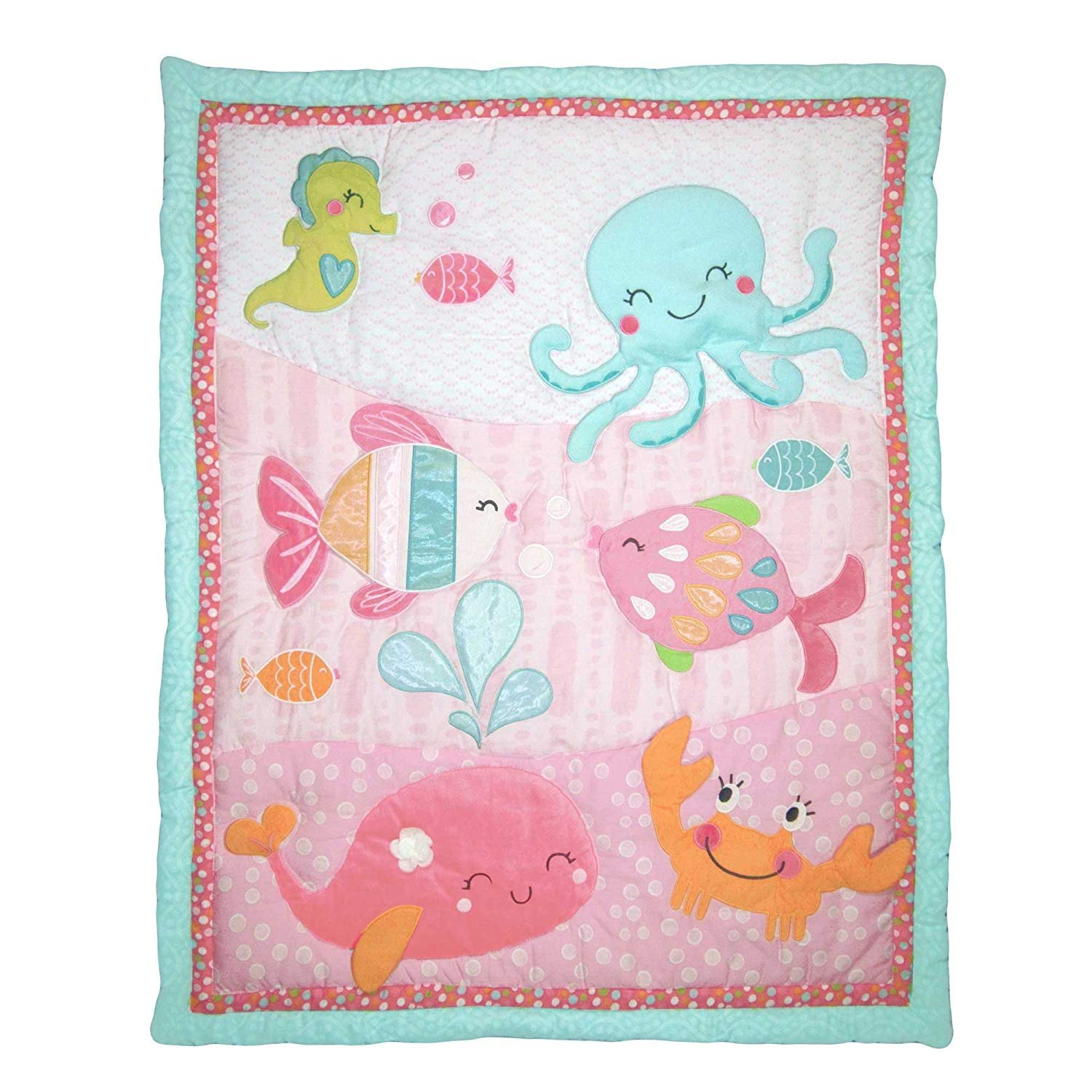 Carter's Under The Sea Baby Applique Luxury (Crib Quilt/Comforter Only) Pink Crown Crafts