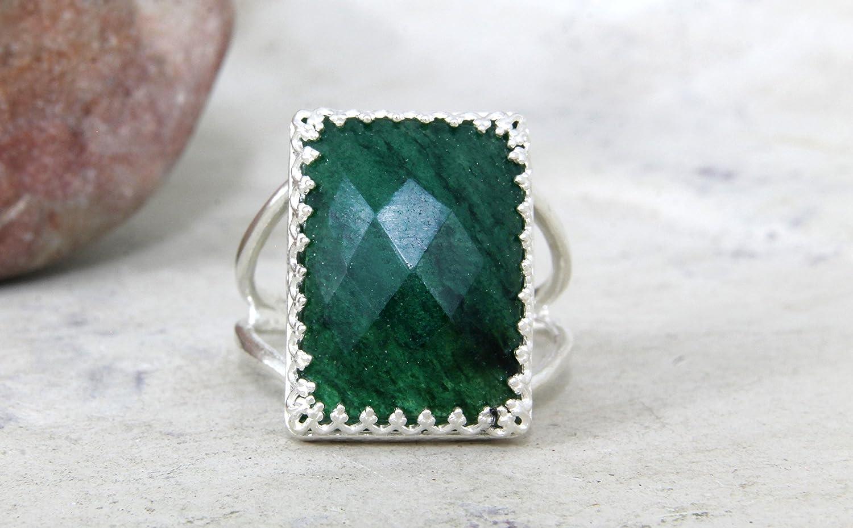 Agate emerald ring,rectangular ring,silver rectangle ring,silver prong ring,lace setting ring,gemstone ring