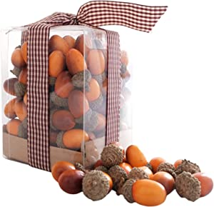 Ciroases 100 Pieces Craft Acorns Brown Assorted Artificial Acorn Small Acorns with Natural Acorn Cap for DIY Decoration Crafting Home Kitchen Table Decor Vase Filler Decorations (Small, Orange)