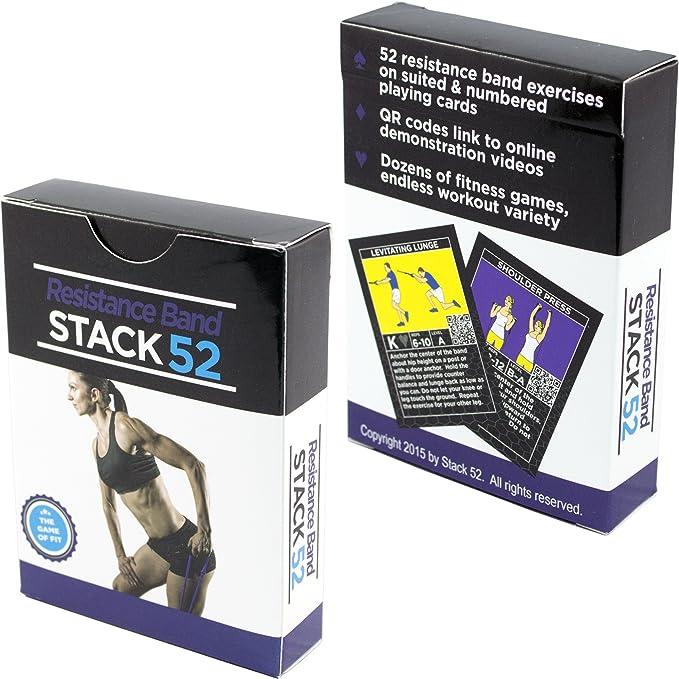 Stack 52 - Tarjetas con ejercicios para bandas de resistencia Juego de tarjetas de entrenamiento con bandas. Incluye vídeo con instrucciones (idioma español ...