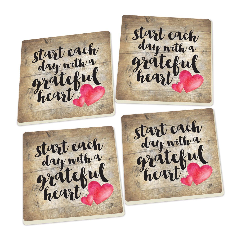 Start Each Day Script Red Heart Design Set of 4 Ceramic Coaster Pack by P Graham Dunn