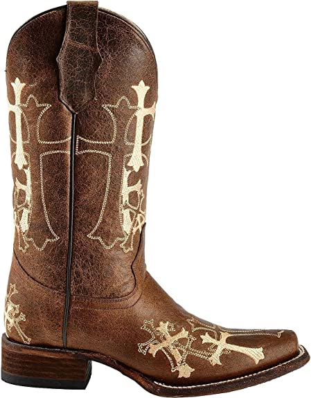Circle G by Corral Women/'s Brown Cross Square Toe Cowboy Boots L5042