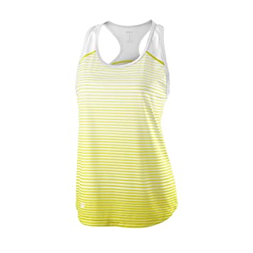 Wilson Camiseta de tenis de tirantes para mujer, W Team Striped Tank, Poliéster,