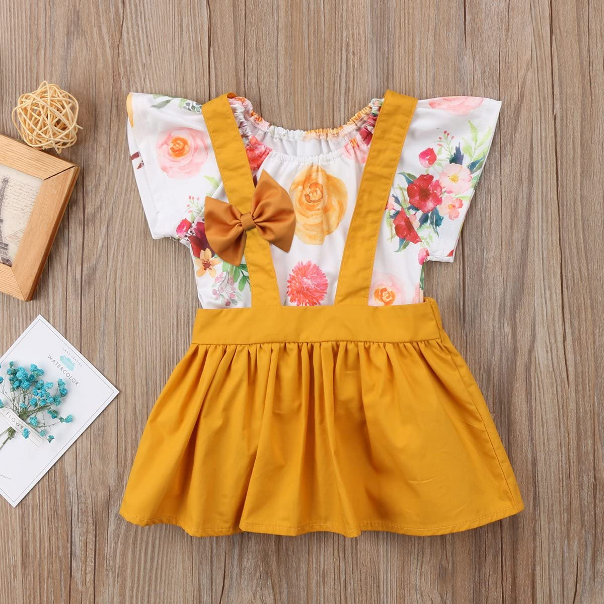 Toddler Baby Girl 2pcs Outfits Floral Short Sleeve Ruffled T-Shirt Top+Suspender Skirt Overalls Set