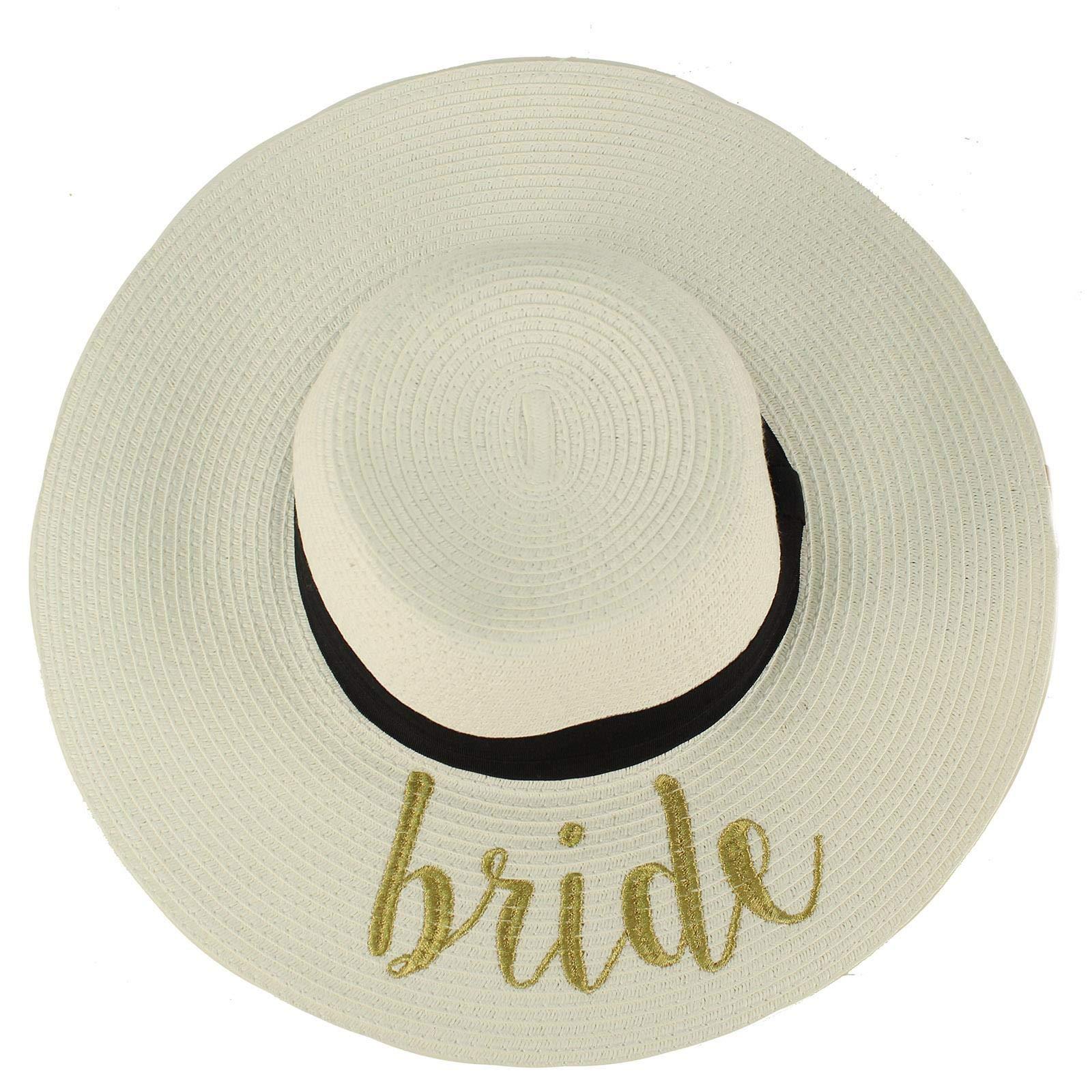 Fun Verbiage Elegant Wide Brim 4'' Summer Derby Beach Pool Floppy Dress Sun Hat White/Gold (Bride) by C.C