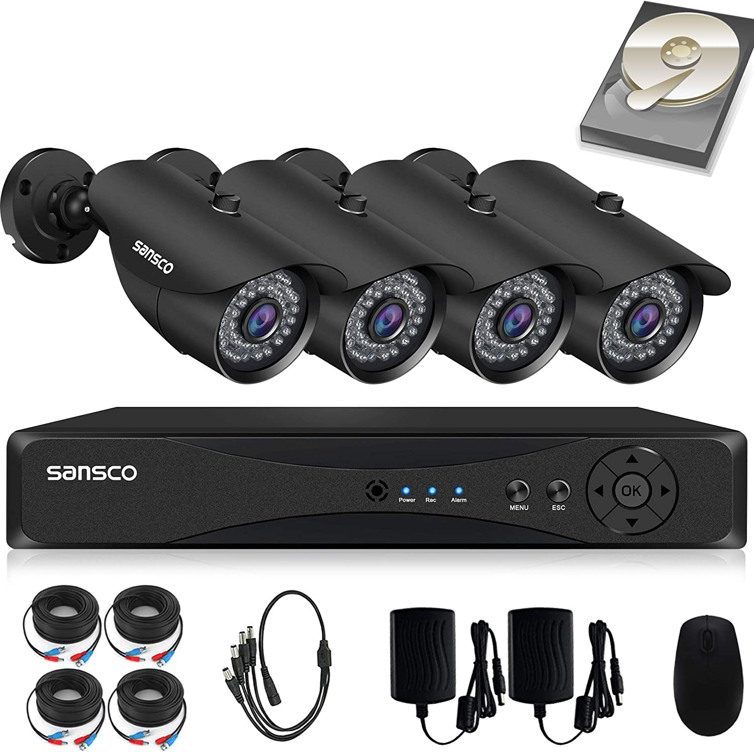 SANSCO CCTV Security Camera System with 4 Channel 1080P DVR, 4 Bullet Cameras All HD 1080p 2MP , 1TB Internal Hard Drive Disk – All-in-One Wired Surveillance Camera Kit