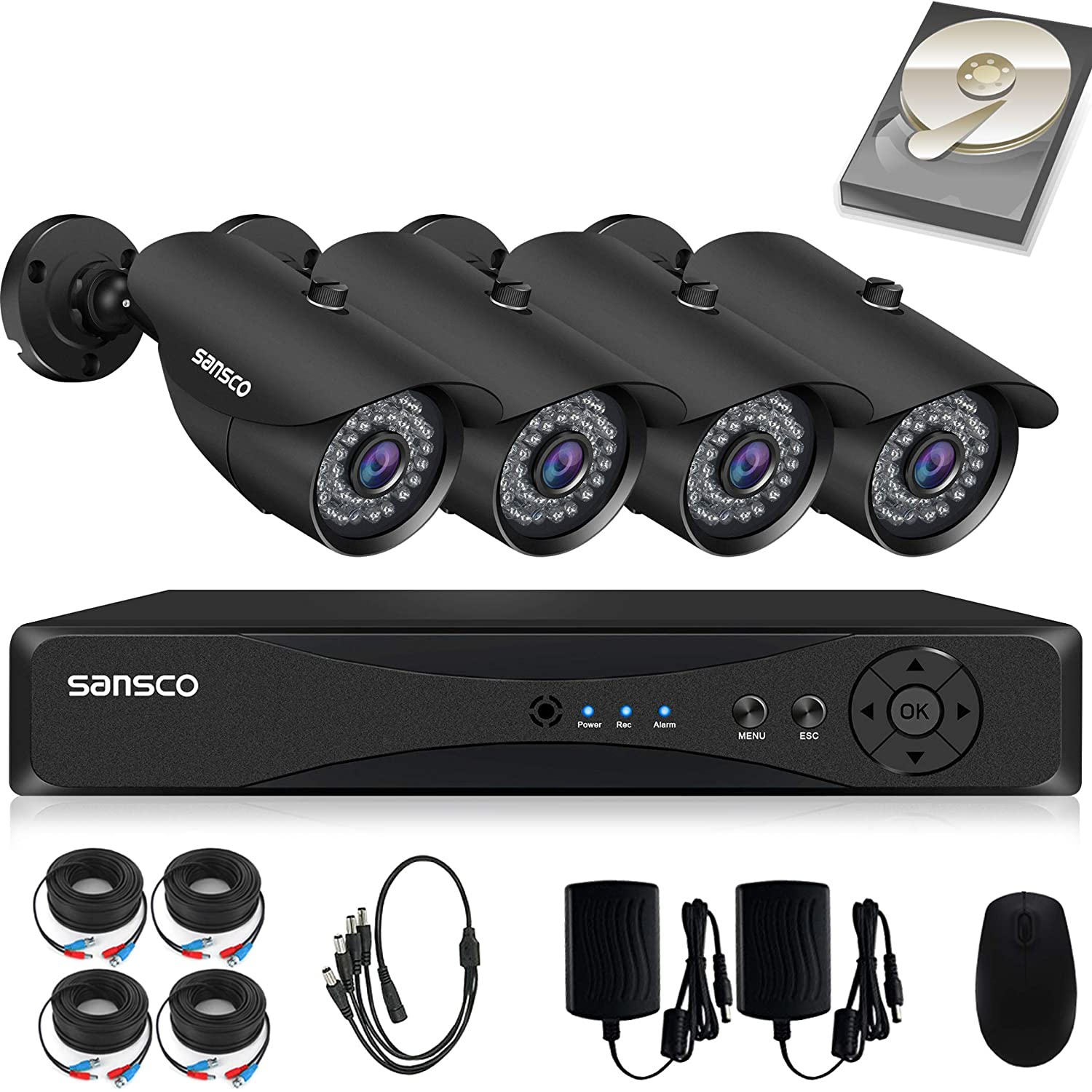 SANSCO Pro CCTV Security Camera System with FHD 1080P DVR, 4 Bullet Cameras (All HD 1080p 2MP), 1TB Internal Hard Drive Disk 24/7 Or Motion Recording ...