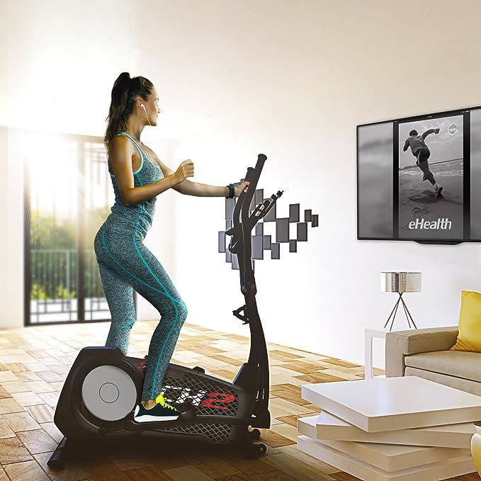 Sportstech CX2 - Bicicleta elíptica Ergómetro con control por aplicación Smartphone, peso de inercia 27 kg, Bluetooth, 24 niveles de resistencia, ...