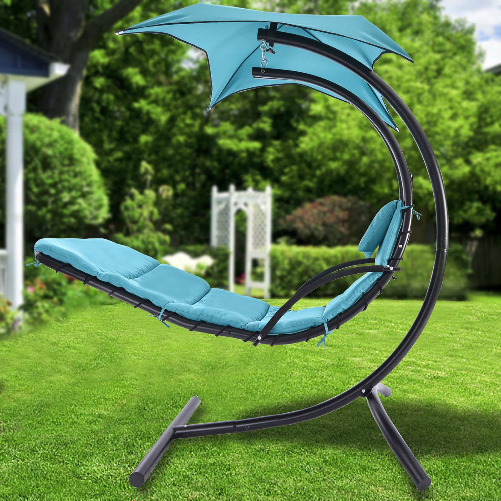Patio Camping Hanging Swing Hammock Canopy Chaise Lounger Chair Porch Deck Blue
