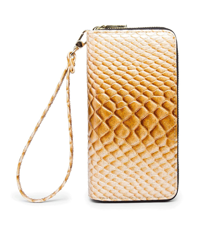 Swdeepyellow2118 LIKESHE Women PU Double Zip Around Clutch Large Travel Purse Wrist Strap Blocking Wallet