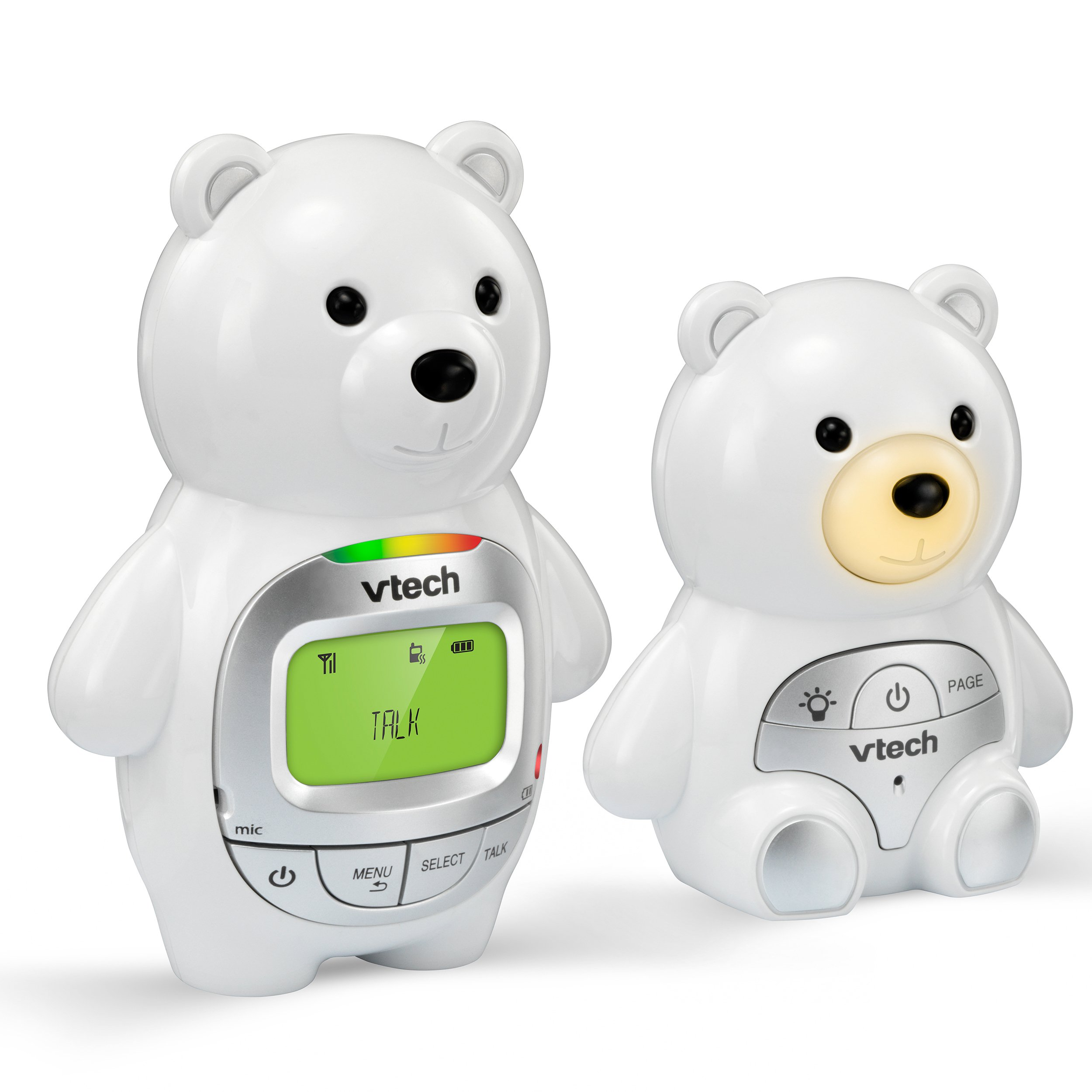 VTech DM226 Teddy Bear Audio Baby Monitor with up to 1,000 ft of Range, Vibrating Sound-Alert, Talk-Back Intercom, Digitized Transmission & Night Light