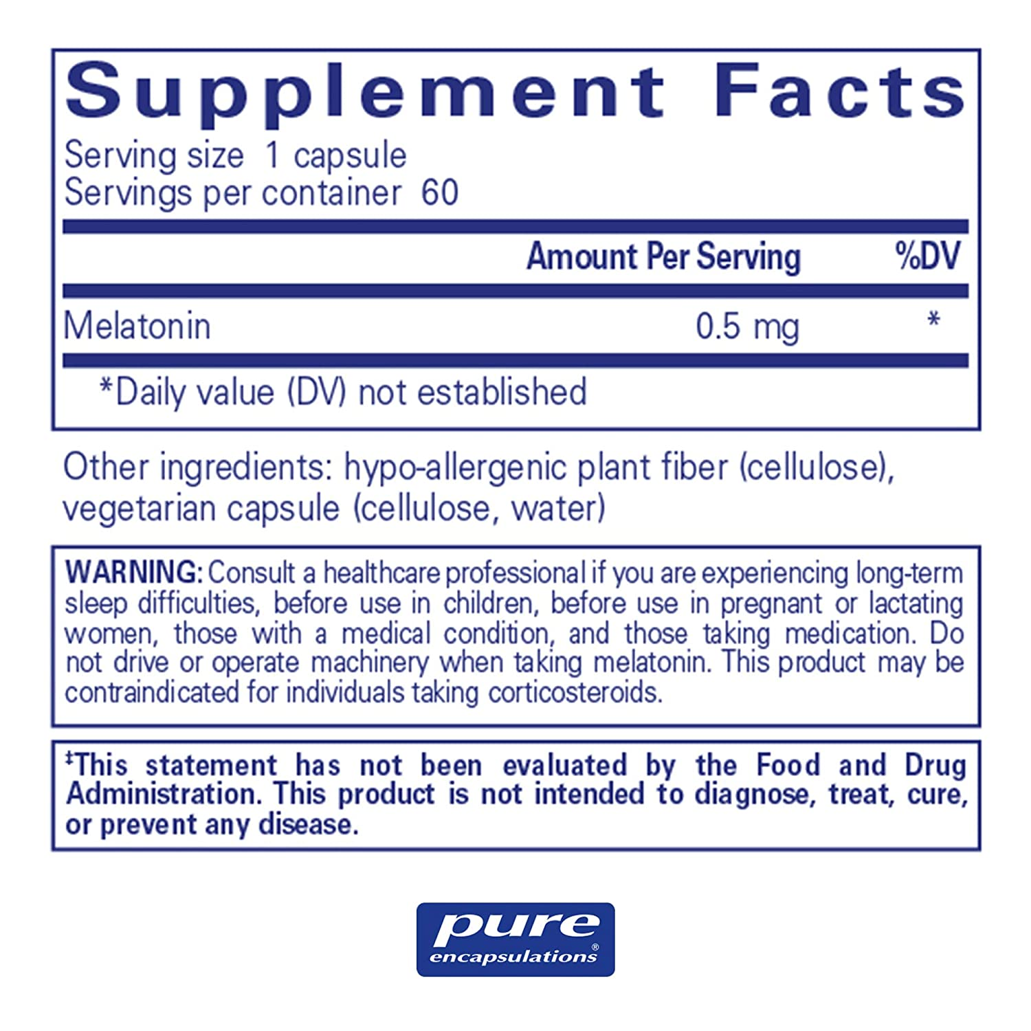 Amazon.com: Pure Encapsulations - Melatonin 0.5 mg - Hypoallergenic Supplement Supports The Bodys Natural Sleep Cycle* - 60 Capsules: Health & Personal ...
