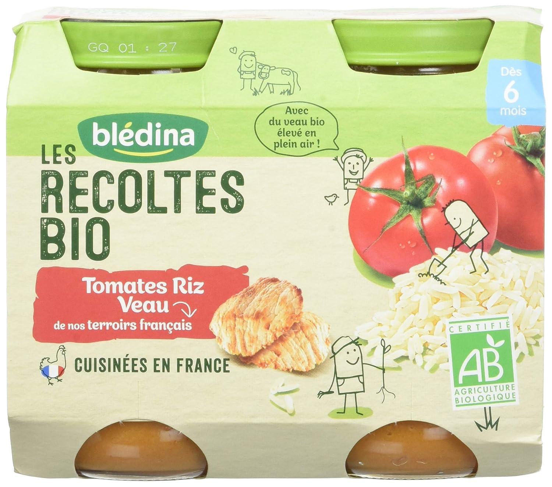 Blédina Les Récoltes Bio Tomates Riz Veau dès 6 mois 2 x 200 g - Pack de 6 BLEDINA 3041091289681