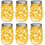 Mason Jar Solar Lights 30 LEDs, 6 Pack Hanging Solar Lights Outdoor, Waterproof Fairy Lights Solar Lanterns for Patio Garden,
