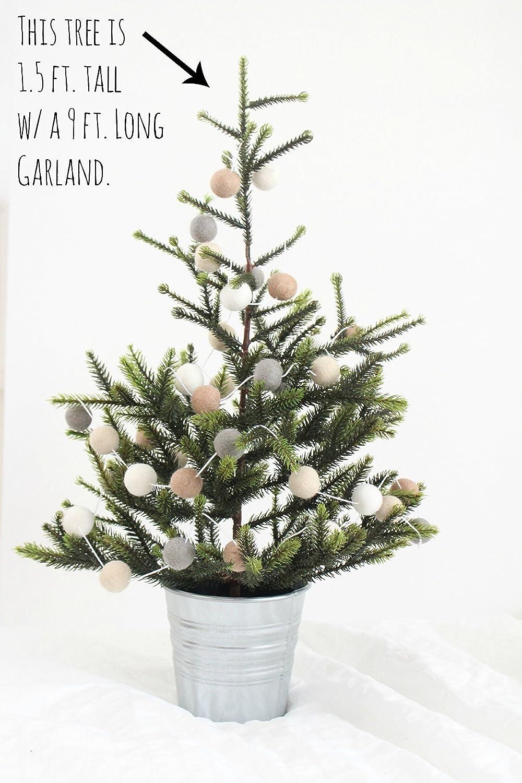 amazoncom creamy dreamy christmas handmade wool felt ball garland by sheep farm felt neutral colored pom pom garland white cream beige gray - Felt Christmas Garland