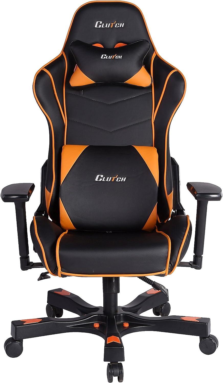 CLUTCH CHAIRZ Crank Series Delta Black/White Gaming Chair (Black/Orange)