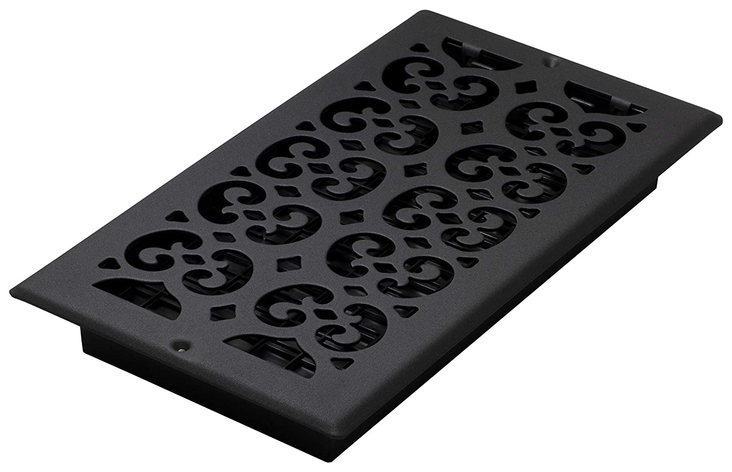 Decor Grates ST612W 6-Inch by 12-Inch Painted Wall Register, Black Textured