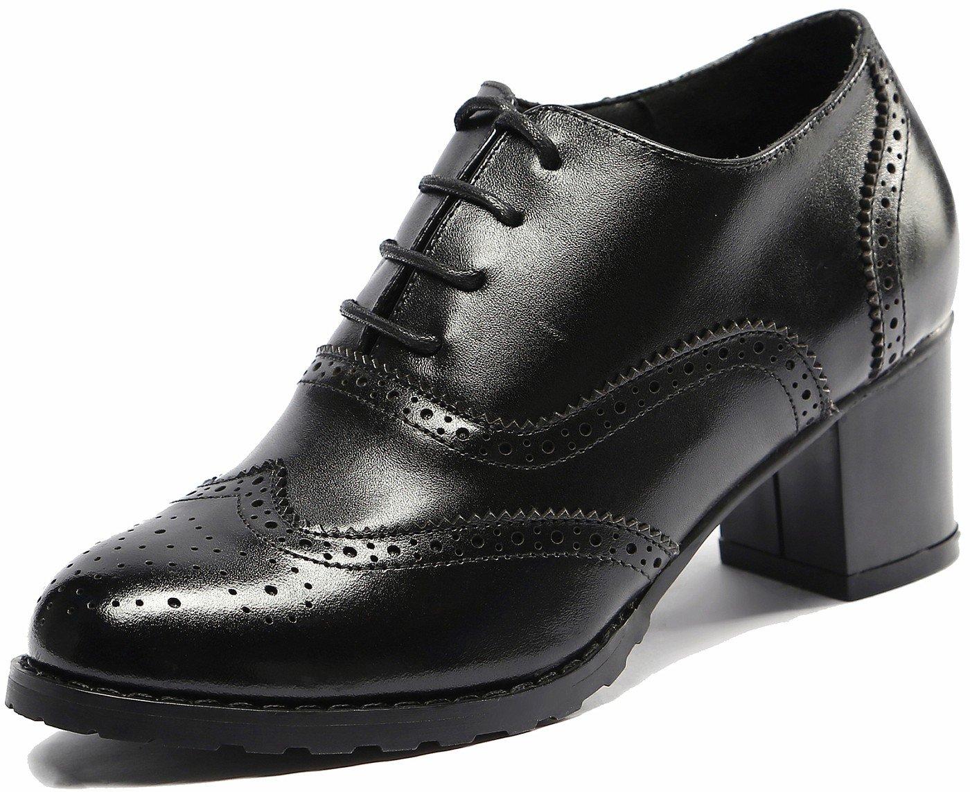U-lite Black Perforated Lace-up Wingtip Leather Pump Oxfords Vintage Oxford Shoe Women BLK 8