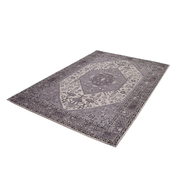 Invicta Interior Orientalischer Design Teppich HERIZ 240x160 cm Grau Antik Geometrisches Muster Wohnzimmerteppich Baumwolle Orientteppich Orientalisch