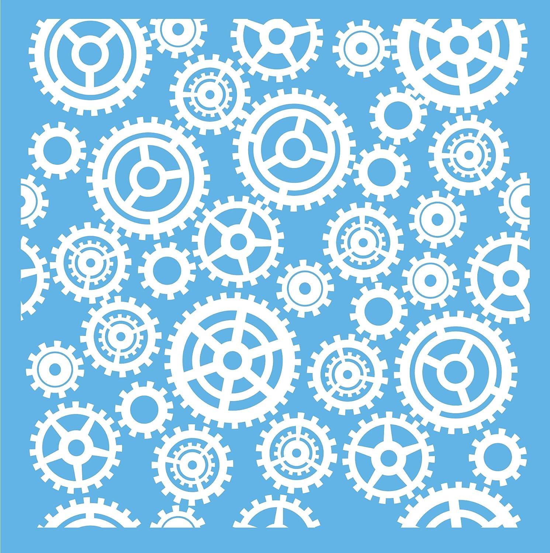 6-Inch x 6-Inch Clear Scraps CSSM6-GRS Translucent Plastic Film Stencil Gears