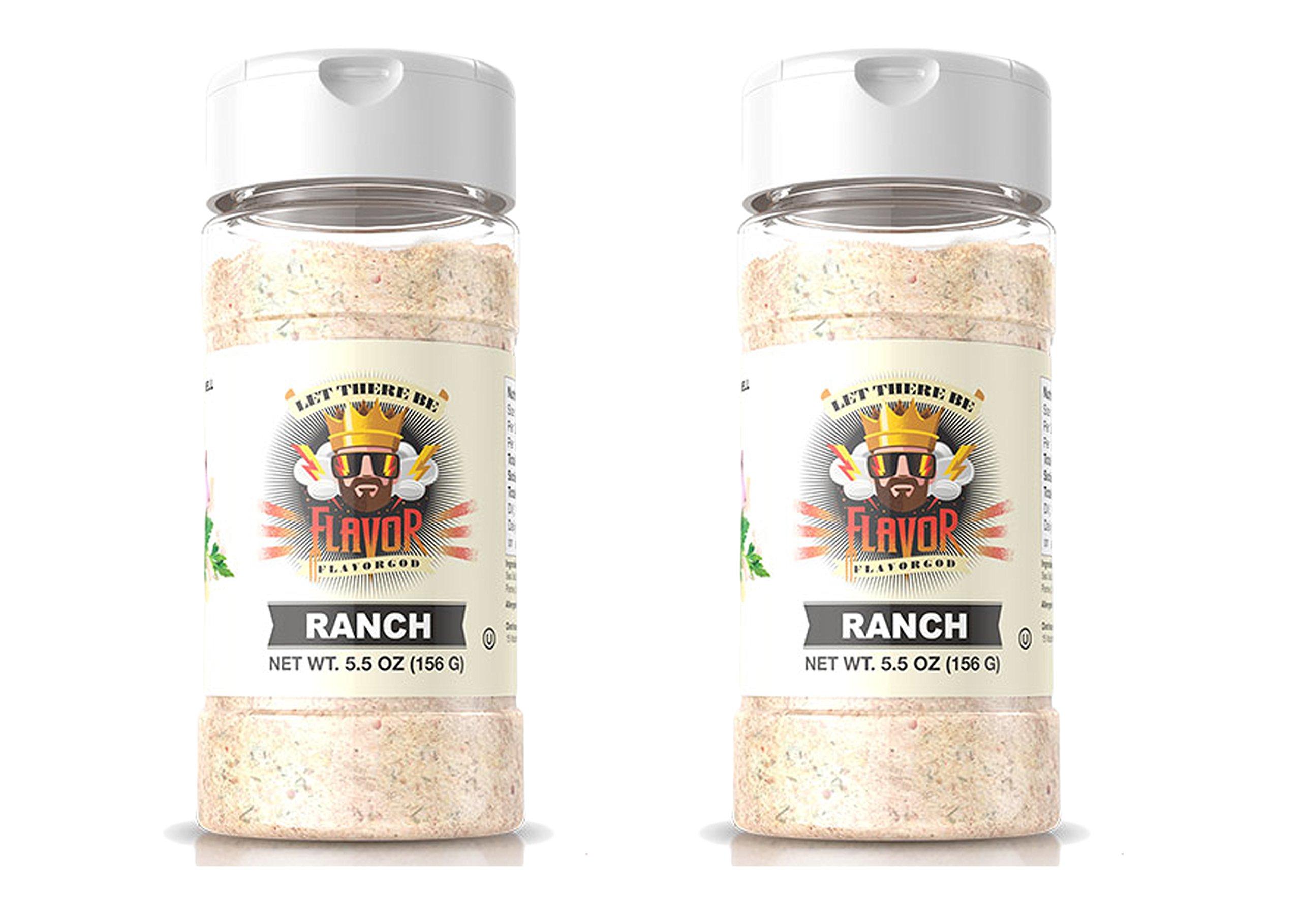 Flavor God #1 Best-Selling, Ranch Seasoning, 2 Bottle, 5 oz each