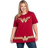 DC Comics Plus Size T-Shirt Wonder Woman or Supergirl Logo Belt Print Costume